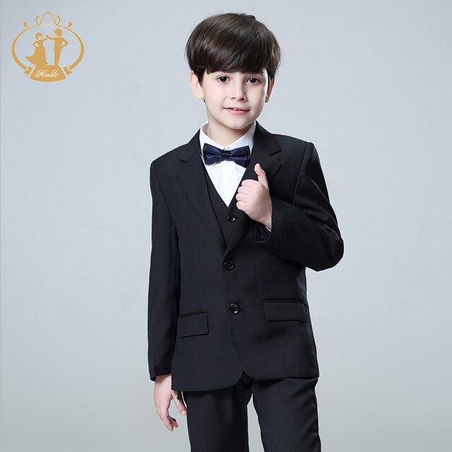 7bdbd5bcc28c0 Agile noir costume pour garçon Solide garçons costumes pour mariages  garçons blazer costume enfant garcon mariage ...