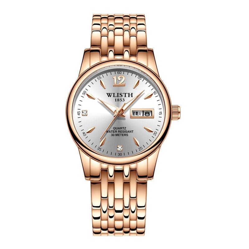 Marca de Topo Homens de Quartzo Relógio de Pulso à Prova Água para a Data de Exibição Wlisth Kingnuos Completa Senhora d' Semana Luminosa Hora Reloj Hombre Saat Aço