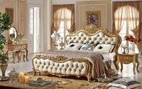 Великолепная резьба Роза двуспальная кровать, мастер номер люкс Королевский лес кожа кровать Европейский Стиль высокое качество Спальня к