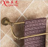 European Retro Luxury Antique Full Copper Factory Wholesale Antique Carved Double Bar Towel Bar Bathroom Toilet
