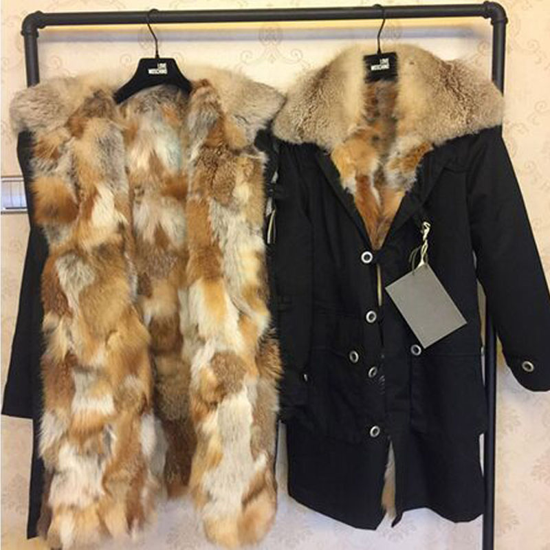 Large Real Natural Raccoon Fur 2017 New Brand Parkas Cold Winter Jacket Women Coat Real Fox Fur Liner Hooded Thick Warm Parkas 2017 winter new clothes to overcome the coat of women in the long reed rabbit hair fur fur coat fox raccoon fur collar