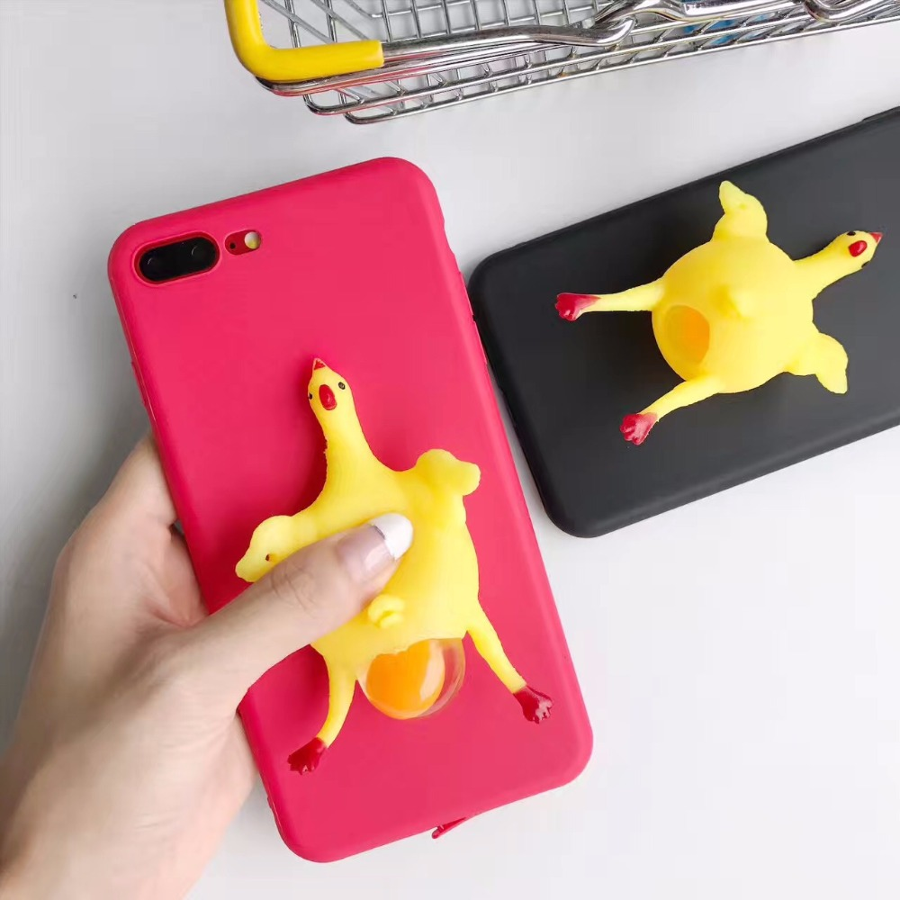 Fashion Creative Women Men Chicken Punk Rub <font><b>Phone</b></font> <font><b>Case</b></font> Cover <font><b>Squishy</b></font> for iphone7 7 Plus 6 x Plus poke funny animals cover coque
