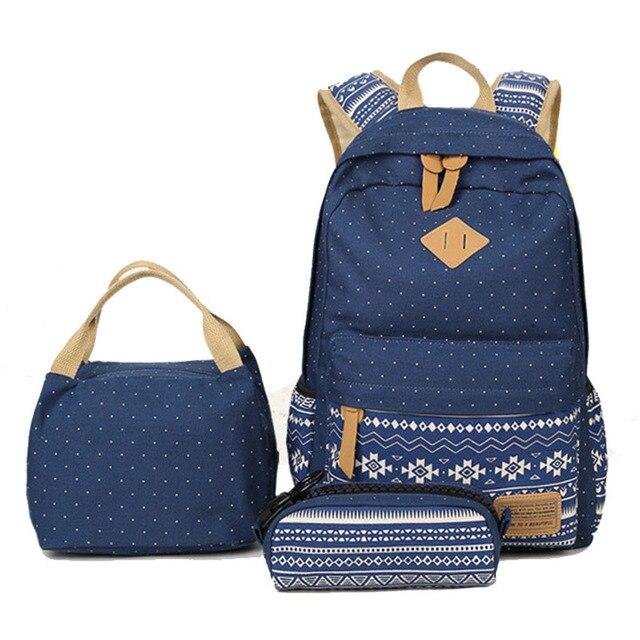 9d33954dae2e Abshoo Cute Backpack For Teenage Girls School Bags Fashion Printing Women  Backpacks 3 Set Pencil Case School Canvas Rucksack Bag