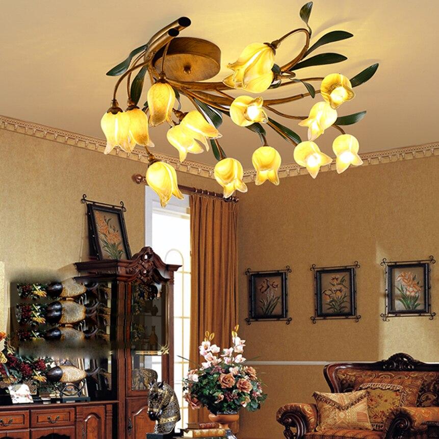 Frugal G4 Led Nordic Iron Glass Flower Led Lamp.led Light.ceiling Lights.led Ceiling Light.ceiling Lamp For Foyer Bedroom Dinning Room Ceiling Lights