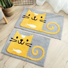 New Cartoon Cat Thick Water Absorption Rug Bathroom Mat Shaggy Bath Set kitchen Door Floor Carpet For Toilet Non Slip