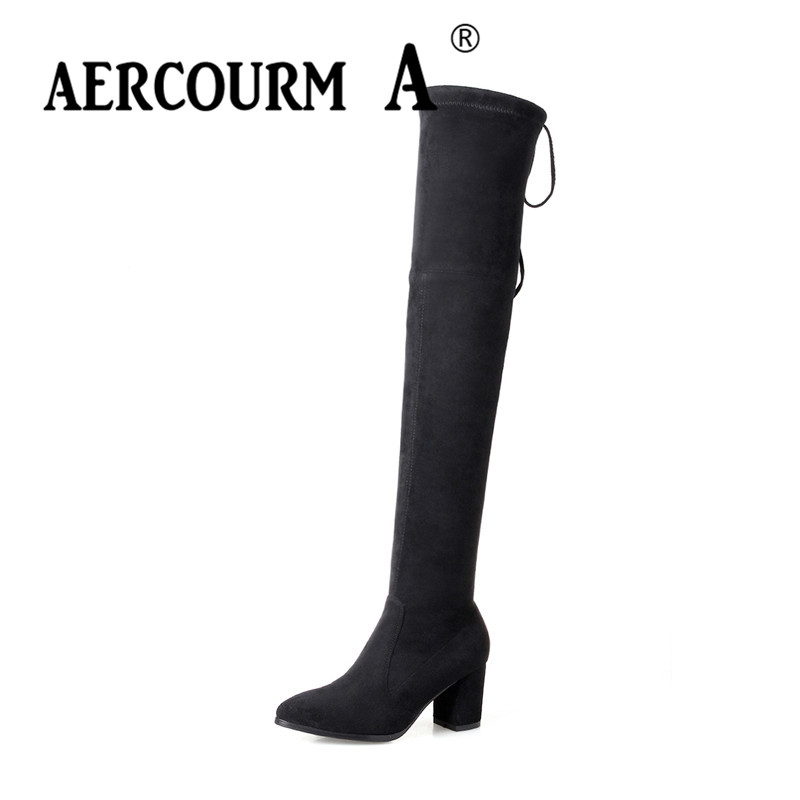 Aercourm A Women Autumn Over-the-knee Boots Lady Lacing Boots Women Basic Shoes Flock Boots Solid Boots Pointed Toe High Heels