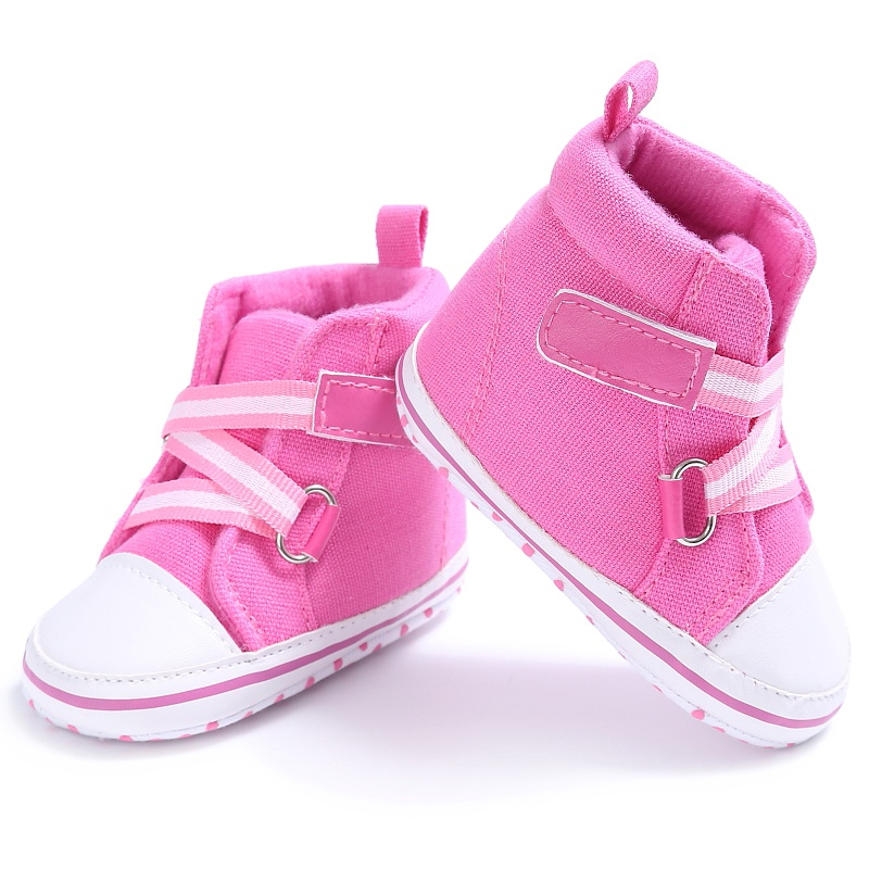 Baby Boys Girls Spring Autumn Canvas Shoes Cross Strap High heel Sneaker Retro Non-slip Shoes