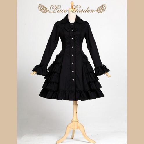 ФОТО Black Audrey Hepburn Trench Coat Vintage Style Long Flare Sleeve Lolita Coat by Lace Garden
