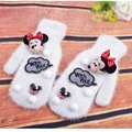 2016 Women Winter Gloves Cartoon Mickey Mouse Cute Gloves For Girl Rabbit Fur Gloves White Female Mittens Workout