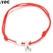 IYOE Gold Color Lucky String Letter M Charm Red Bracelet For Women Men Kids Name Couple