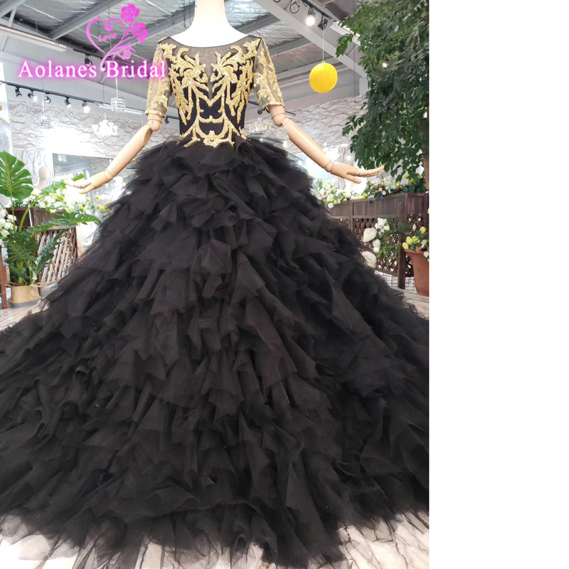 Romantic Dubai Princess Engagement   Dress   Sheer Jewel Neck Gold Beaded Lace Applique Evening   Dress   Ball Gown Tulle   Prom     Dresses