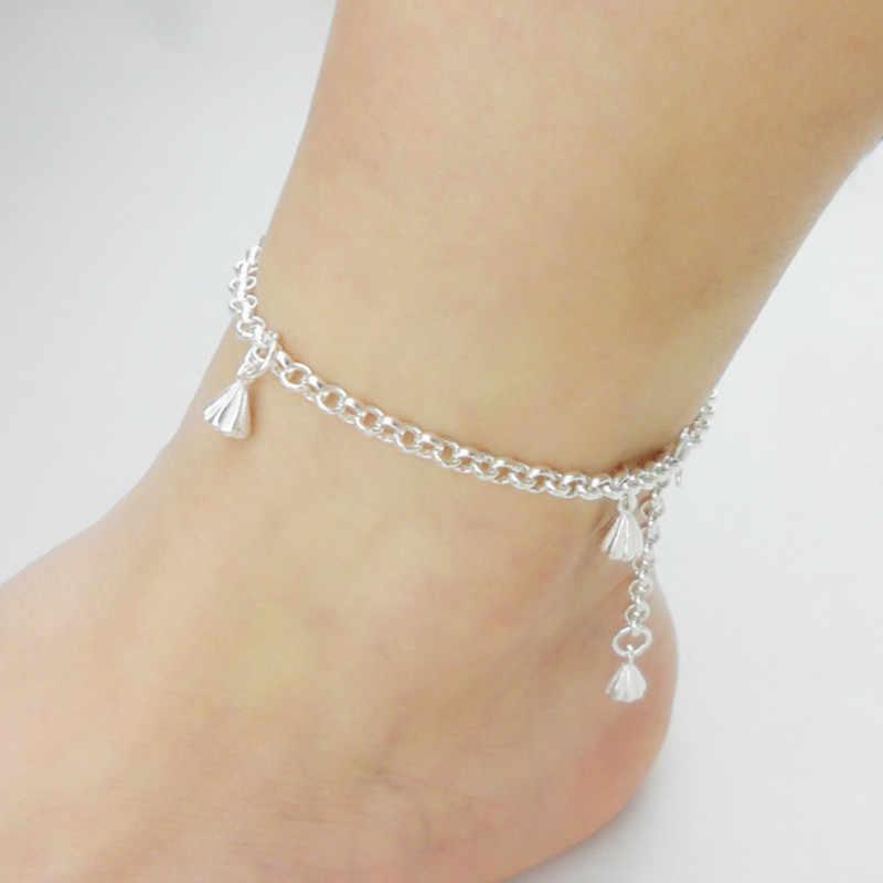 脚足首のブレスレットシルバーチェーン女性のためのスターリング 999 ジュエリー手作りギフトブレスレット女の子足ジュエリーブラブラチェーンボディ