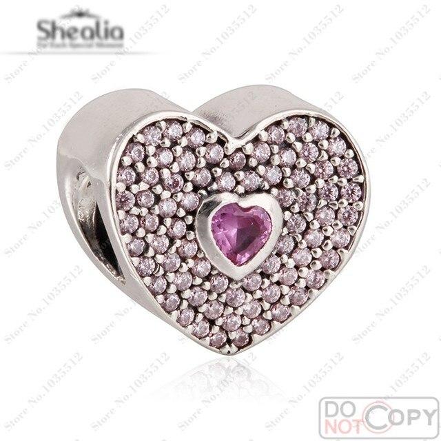 Pink CZ Love Heart Charms Beads Fits Women Bracelets Original 925 Sterling Silver Crystal Bead Valentine's Day SHEALIA Jewelry