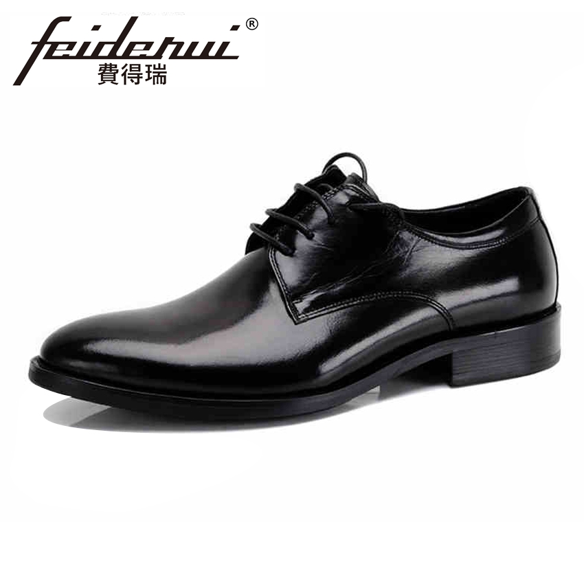 Stylish Handmade Men's Derby Office Footwear Genuine Leather Round Toe Lace-up Man Formal Dress Wedding Party Shoes YMX180 elanrom summer men formal derby wedding dress shoes cow genuine leather lace up round toe latex height increasing 30mm massage