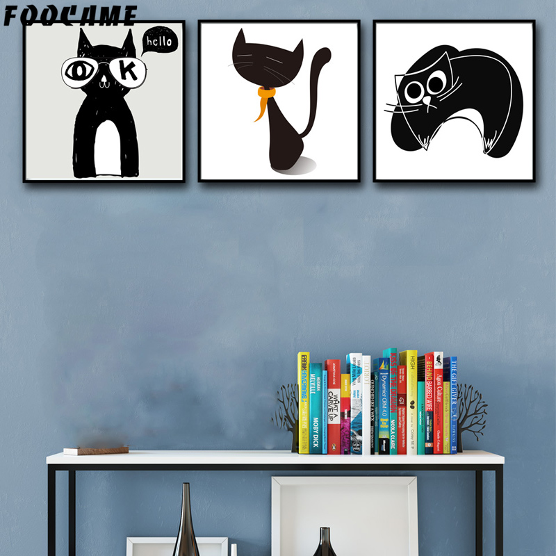 FOOCAME Cartoon Animal Μινιμαλιστική γάτα - Διακόσμηση σπιτιού - Φωτογραφία 2