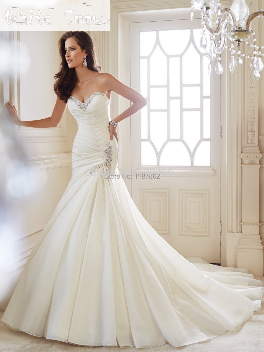 WD 0833 Criss Cross Pleated Wedding Gown Sweetheart Mermaid Wedding ...