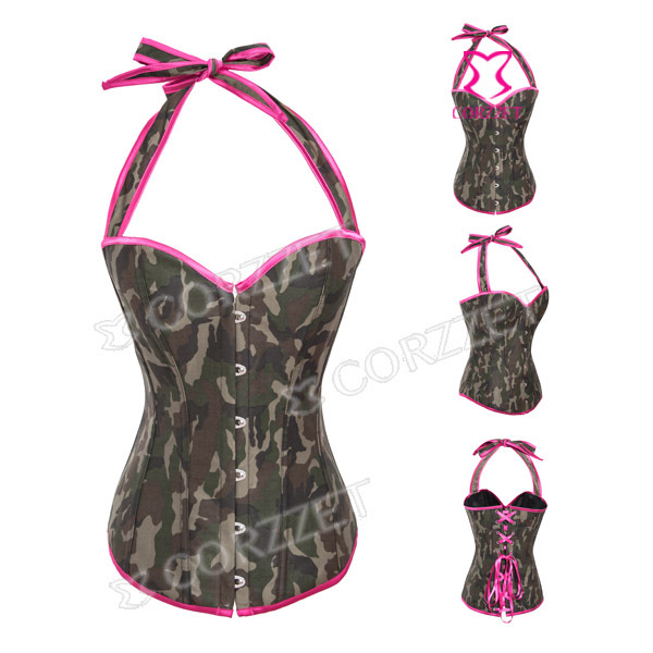 Latex Army Green Jeans Denim Sexy Halter Neck Gothic Waist Trainer Bustiers & Corsets Women Push Up Overbust Corset Bodice Top