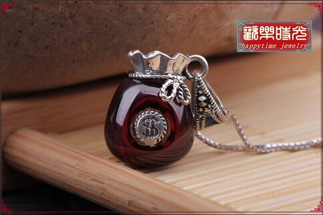 Happytime 2015 NEW Natural crystal garnet sautoir 925 silver inlaid purse crystal pendant pendant  NS15021