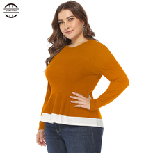 2019 New Spring Big Size T Shirt Women Slim Tops Long Sleeve Casual Ruffle Patchwork Tee Femme Plus XL Clothing