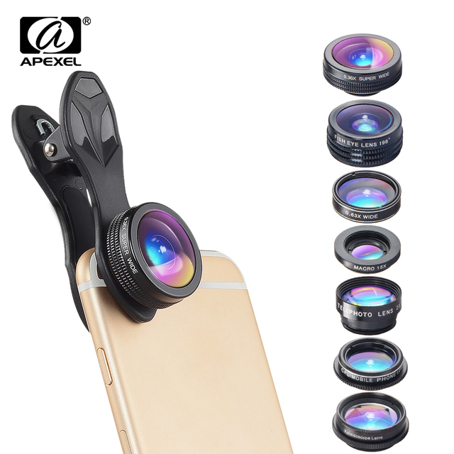 APEXEL 7 で 1 キット携帯電話のレンズ魚眼レンズ広角マクロレンズ CPL 万華鏡ズームレンズ iPhone samsung xiaomi 電話