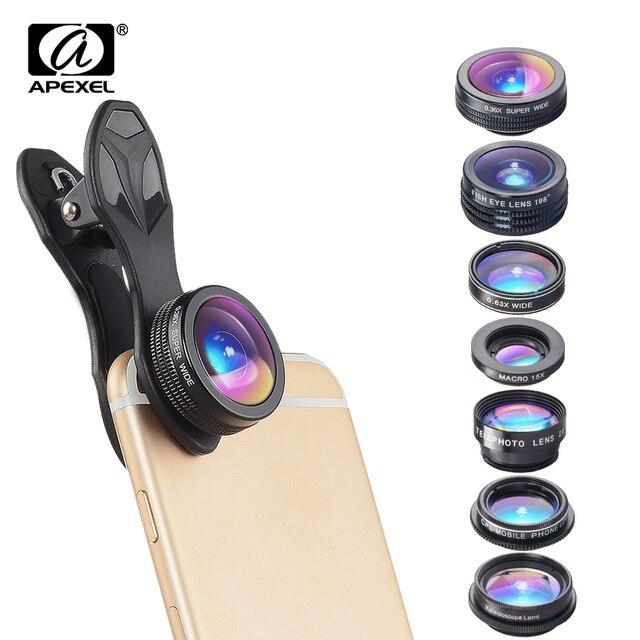 APEXEL 7 in 1 ชุดเลนส์สำหรับโทรศัพท์ Fish เลนส์ตาเลนส์มุมกว้างเลนส์ macro CPL Kaleidoscope ซูมเลนส์สำหรับ iPhone samsung xiaomi โทรศัพท์