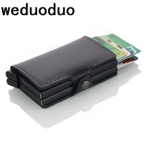 Weduoduo New Men Credit Card Holder High Quality Aluminum Business Genuine Leather Automatic Wallet