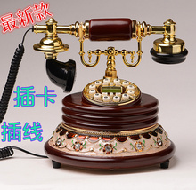 Authentic European style garden antique telephone landline telephone fixed telephone vintage retro luxury luxury antique wooded
