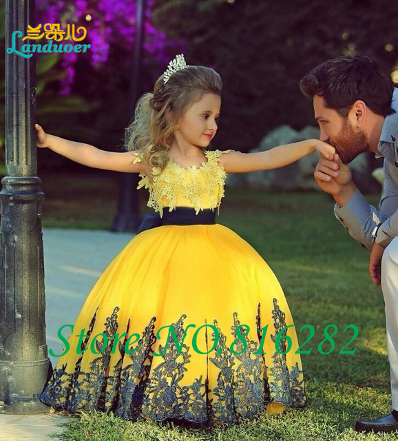 2501e999ca806 الأصفر الأطفال الطابق طول الكرة ثوب بنات مهرجان اللباس ليتل بنات يزين زهرة  فتاة فساتين لحفلات