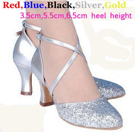 New 2017 5 Colors Sequin Blue Red Black Gold Silver Women Ballroom Tango Salsa Latin Dance Shoes / Cheap Closed Toe Salsa Shoes