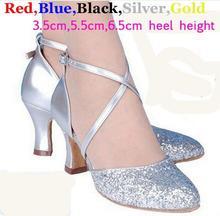 New 2017 5 Colors Sequin Blue Red Black Gold Silver Women Ballroom Tango Salsa Latin Dance Shoes / Cheap Closed Toe