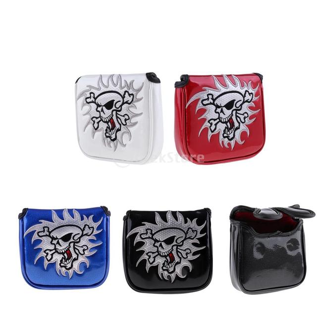 Premium Compact Magnetic Square Golf Head Cover Mallet Putter Cover with Cool Funny Skull Pattern - Choose Colors