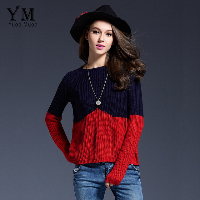 YuooMuoo Hot Selling O-neck Women Sweater Brand European Fashion Patchwork Basic Pullovers Slim Knitted Sweater Outwear