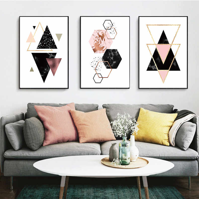 Canvas Painting Abstract Geometry Polygone Nordic Modern Home Decor Poster Print Wall Art Living Room Calligraphy Aliexpress