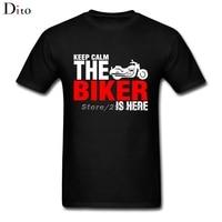 Halten Sie Ruhe Die Biker Ist Hier T Shirt Männer Einzigartige Benutzerdefinierte Kurzarm Freund Große Größe Paar T-shirt