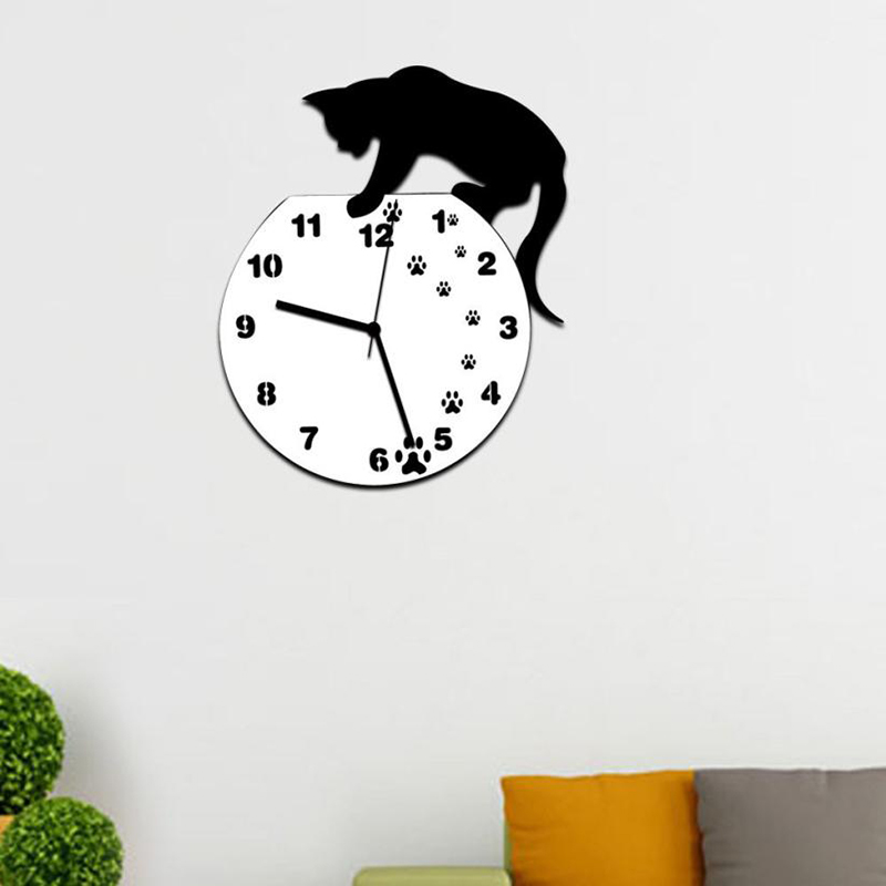 Image 4 - Hot Wall Stickers Wallstickers Cute Footprints Acrylic Clock Modern Home Decor Decoration In Home-in Wall Clocks from Home & Garden
