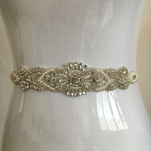Free Shipping 2016 Beaded Crystals Pearls Sparkly Wedding Belt Bridal Shshes Novia White/Ivory Handemade PJ151