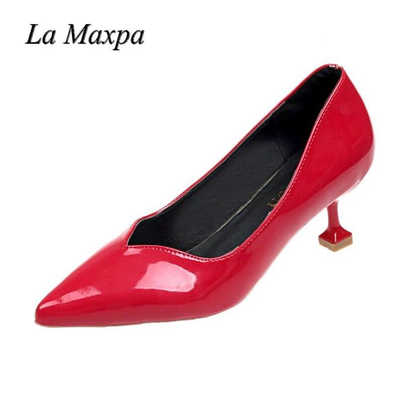 Sexy Punta Señoras Charol Zapatos Femenino Nocturno Club Cm black Beige Altos Solo 2018 red Bombas 8 Mujeres Moda pink Oficina Tacones Toe z58IIv