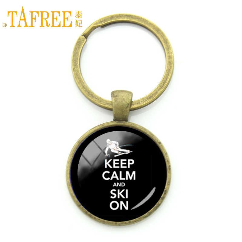TAFREE Time To Sports Keep Calm And Ski On брелок Повседневная Снежная Спортивная брелок зимние Рождественские подарки ювелирные изделия KC599