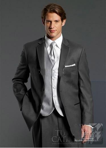 Best Custom Made Groom Tuxedos Charcoal Grey Notch Lapel Best Man Groomsman Men Wedding/Prom Suits/wedding Suitswedding Men Clot