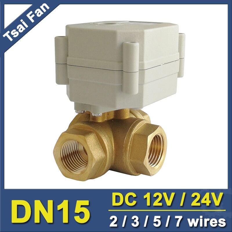 TF15-BH3-C 2/3/5/7 Fils DC12V ou DC24V Laiton 1/2 ''DN15 3 Voies T/L Type Horizontal Électrique Valve