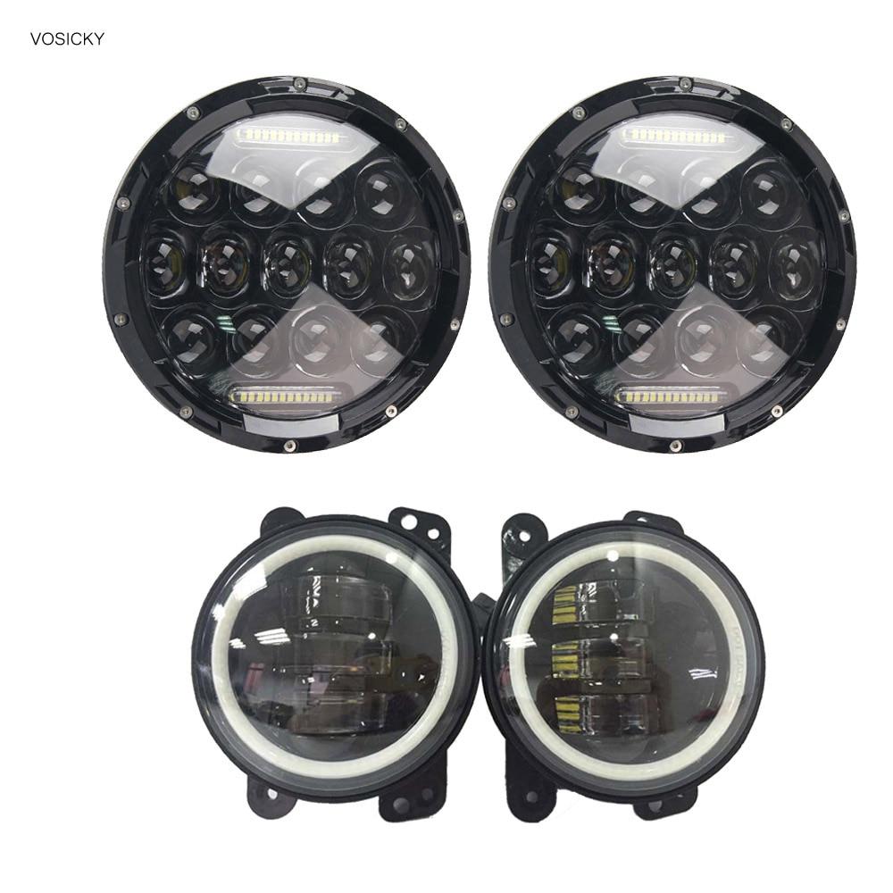 2 шт. 75 Вт 7 дюймов круглые светодиодные фары с DRL Hi/lo лучом с 4-дюймовым foglight для Jeep Wrangler Jk Tj Harley Davidson