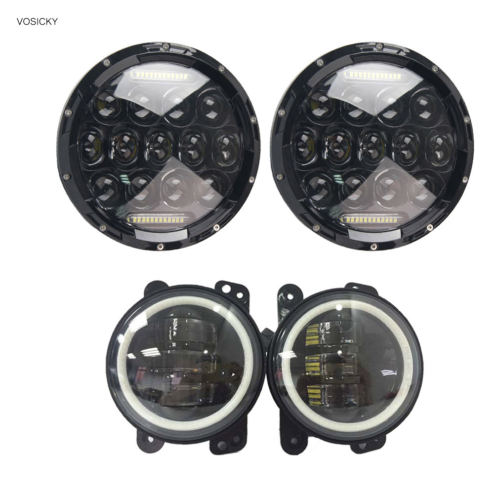 VOSICKY 2 pcs 75W 7 Inch Round Led Headlights With DRL Hi/lo Beam with 4 inch foglight For Jeep Wrangler Jk Tj Harley Davidson велосипед challenger agent 26 черно красный 20