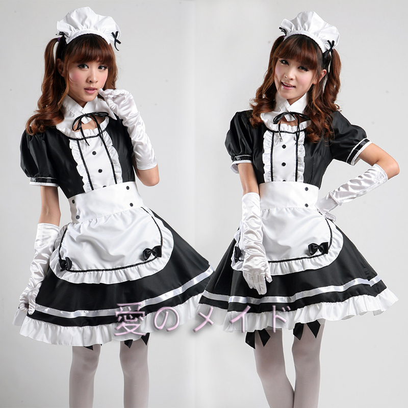 Free Shipping Cheap Akihabara classic black and white Lolita Maid Anime cosplay women's  costume Halloween Dress