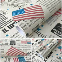 0.45X10M PVC Self Adhesive 3D Wallpaper Newspaper Pattern Effect Waterproof Thick Wall Sticker Bedroom For Walls Roll Home Decor