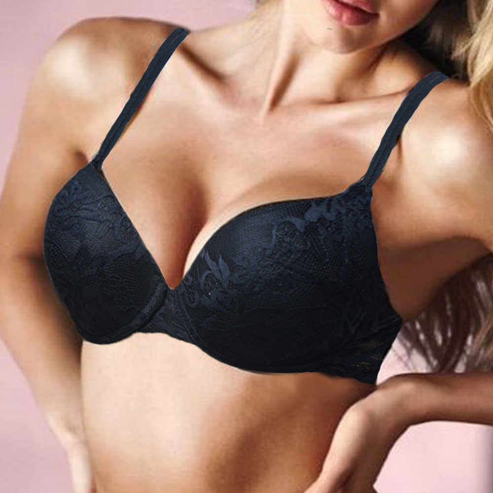 Sexy women underwear bra Underwire Padded Push Up Embroidery Lace A B C D E cup 70 75 80 85 90 95 100 size Brassiere Push Up