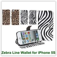 Zebra Stripes Leopard Pattern Wallet Leather Stand Covers Case For IPhone 5 5S With Credit Card