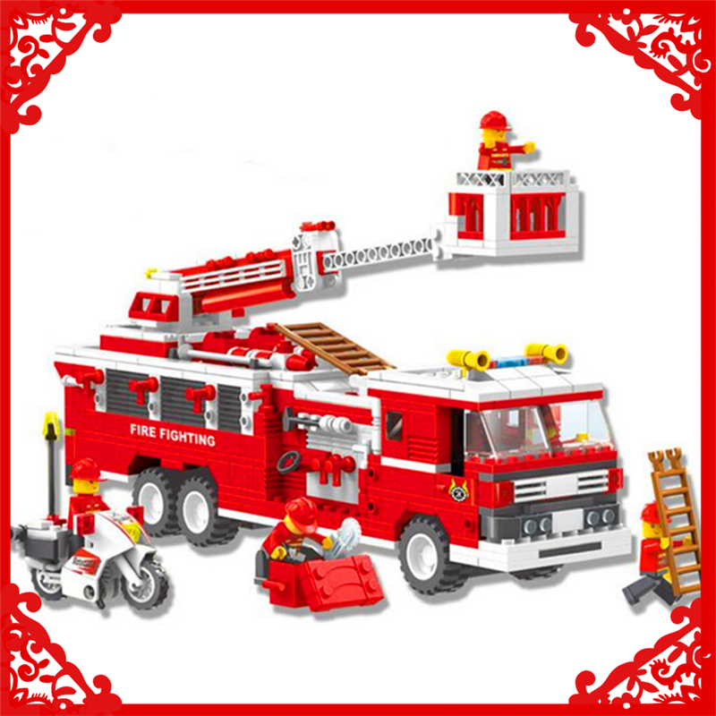 KAZI 33021 City Fire Series Fighting Truck Model Building Block 567Pcs DIY Educational Gift Toys For Children Compatible Legoe banbao 8313 290pcs fire fighting ladder truck building block sets educational diy bricks toys christmas kids gift