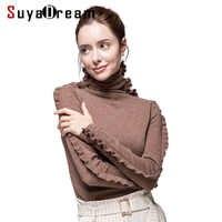 Frauen Wolle Pullover 100% Kaschmir Rollkragen Pullover Für Frauen Rüschen Ärmeln 2019 Herbst Winter Pullover Bodenbildung Strickwaren Schwarz