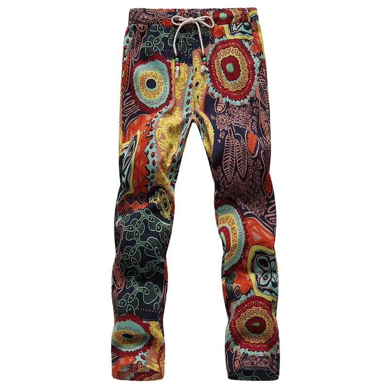 Men Drawstring Pant In 7 Colors 2018 Summer Men Lace-up Ankle-Length Flower Pants Large Size S - 6XL