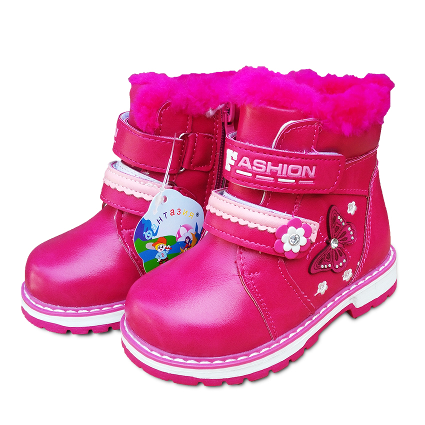 Hot-selling 1pair PU Leather Childrens boot, Girl Soft Snow Boot Winter warm Baby Boots, Brand KIDS Shoes